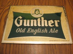 Gunther Ale Reverse Glass Sign